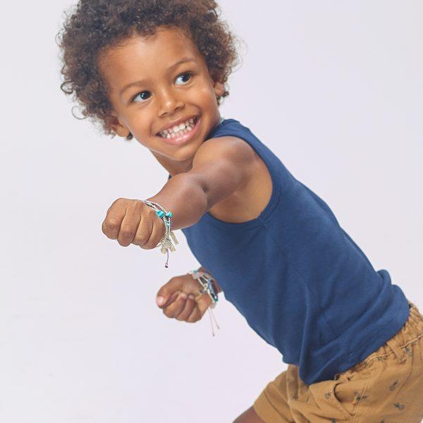 Perle de Jade bracelet élastique enfant argent et turquoise Palm tree