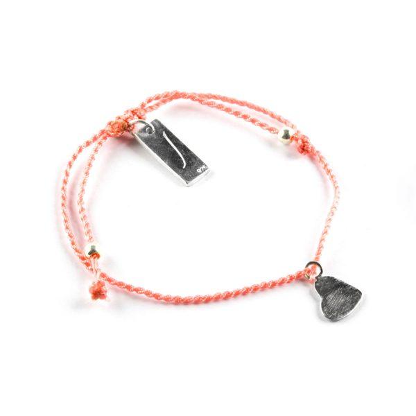 Perle de Jade bracelet enfant fil orange avec charme coeur en argent massif (925)