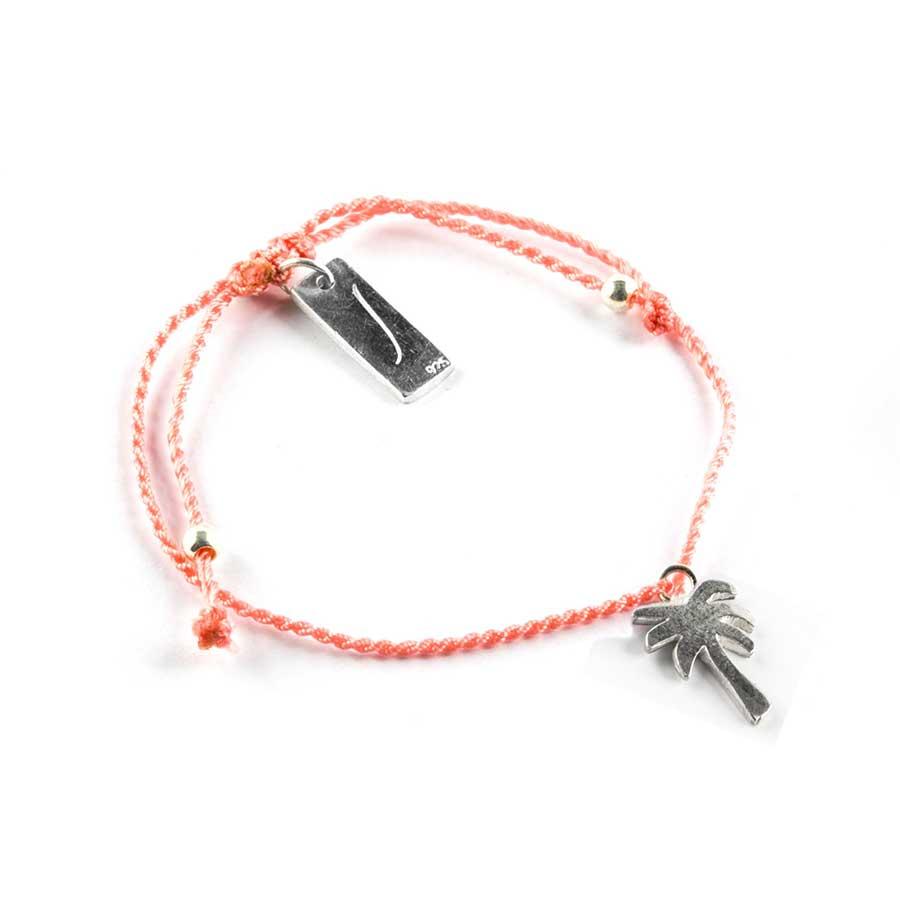 Bracelet enfant fil orange avec pendentif palmier en argent