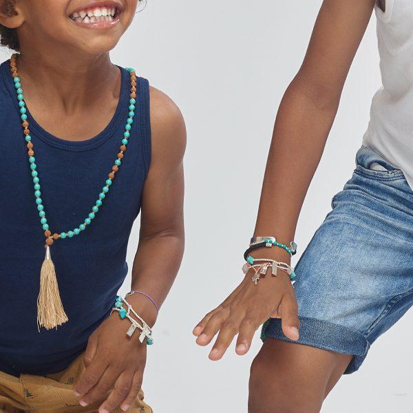 Perle de Jade bracelet enfant fil violet avec charme ananas en argent (925)