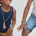Perle de Jade bracelet enfant fil violet avec charme coeur en argent massif (925)