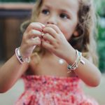 "Child's ""My Baby Love"" bangle in silver with pink leather cord"