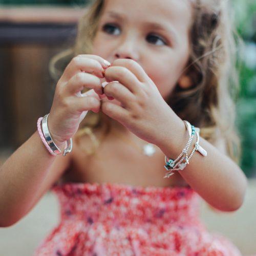 """Perle de Jade bracelet jonc pour enfant en argent massif (925) gravé """"My baby love"""""""