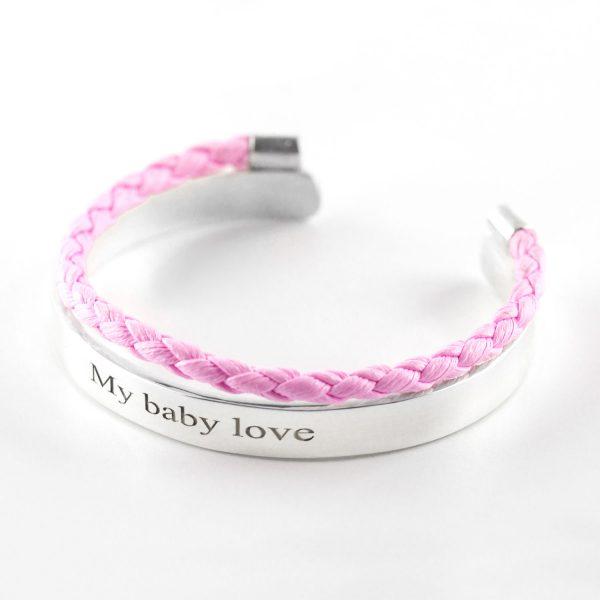 bracelet jonc argent rose my baby love perle de jade