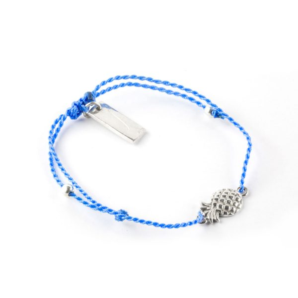 Perle de Jade bracelet enfant fil bleu avec charme ananas en argent massif (925)