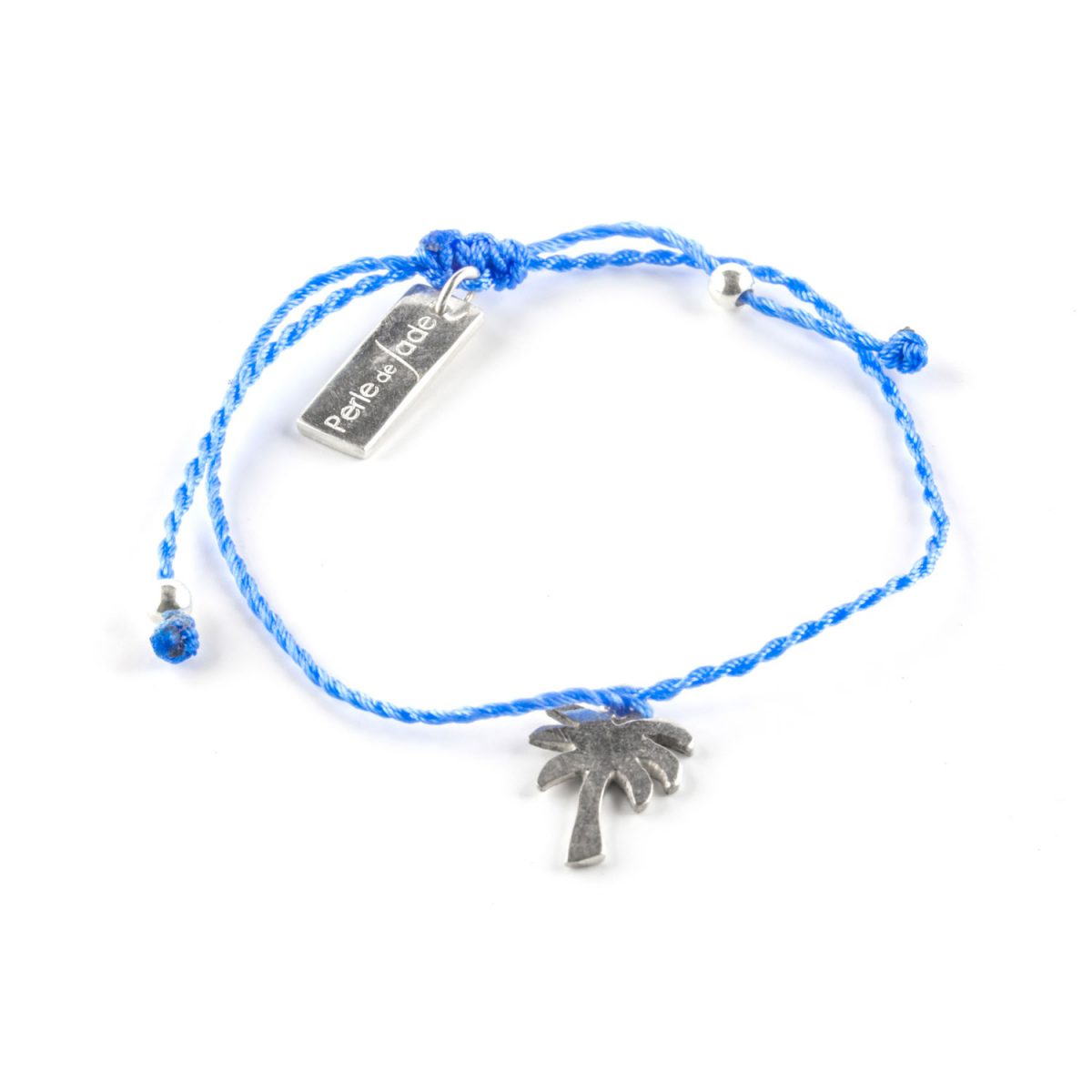 Child's blue cord bracelet with palm tree charm in silver