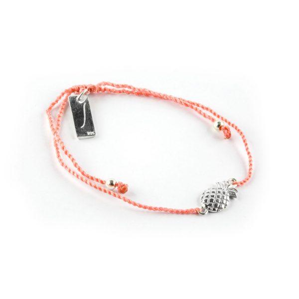 Perle de Jade bracelet enfant fil orange avec charme ananas en argent massif
