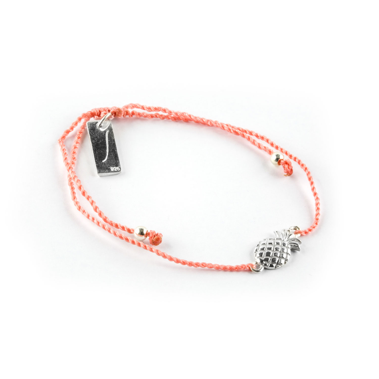 Child's orange cord bracelet with pineapple charm in silver