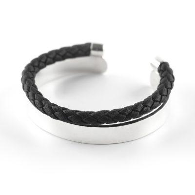 """Bracelet jonc argent massif 925 """"Release"""" Perle de Jade pour les hommes"""
