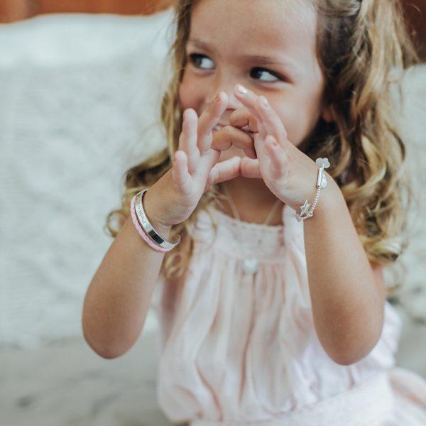 Perle de Jade bracelet jonc pour enfant en argent massif (925) et cuir rose