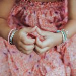 Perle de Jade bracelet jonc en argent massif (925) et cuir rose