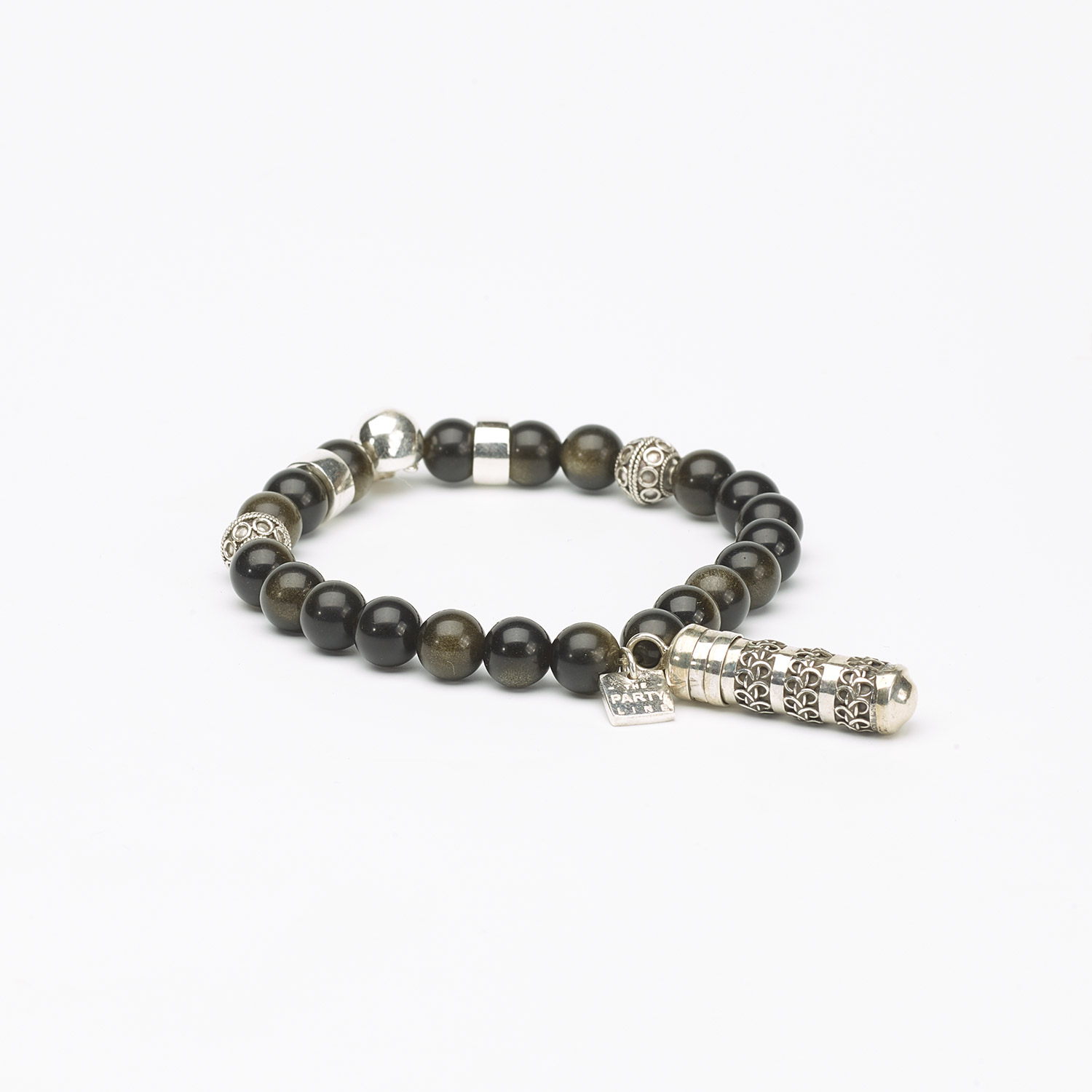 Buddhist Bracelet with Obsidian stone and a Secret box, in silver