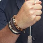 Bracelet with Tiger Eye and solid silver beads