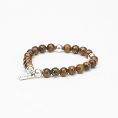 Bracelet perles d'œil de tigre et argent massif (925) Perle de Jade