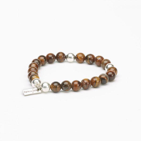 bracelet perles œil de tigre perle de jade