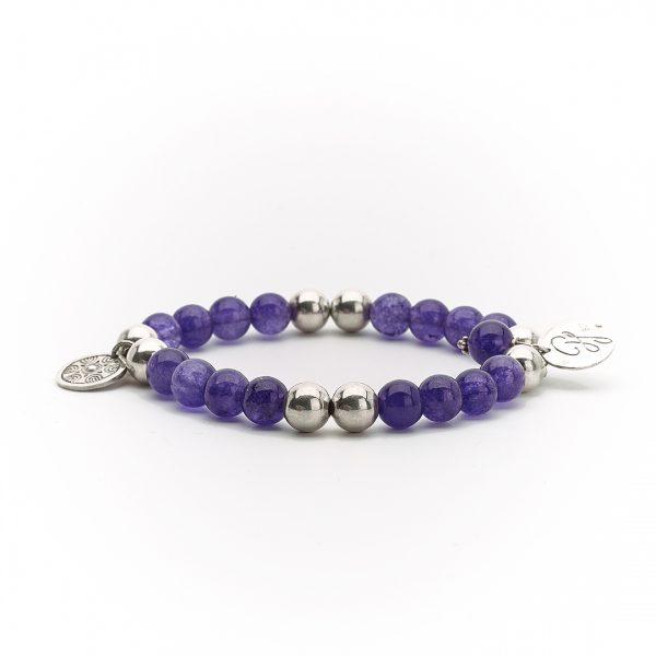 """Bracelet """"Good Karma"""" perles d'améthyste et argent massif (925) Perle de Jade"""