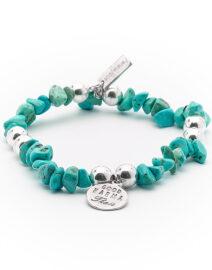 """Bracelet """"Good Karma"""" pierre de turquoise  et argent massif Perle de Jade"""