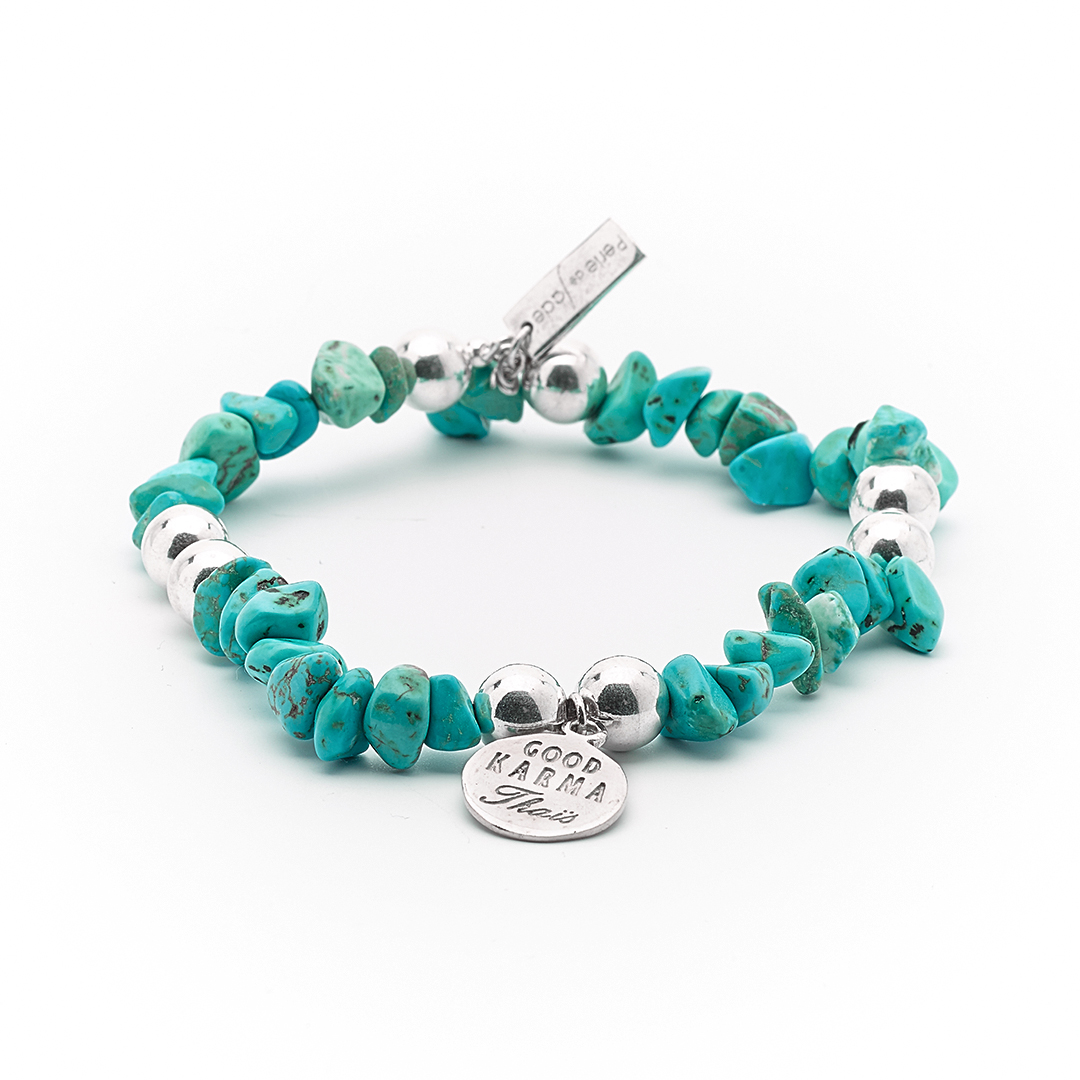 """""""Good Karma""""Bracelet with Light Turquoise and solid silver"""