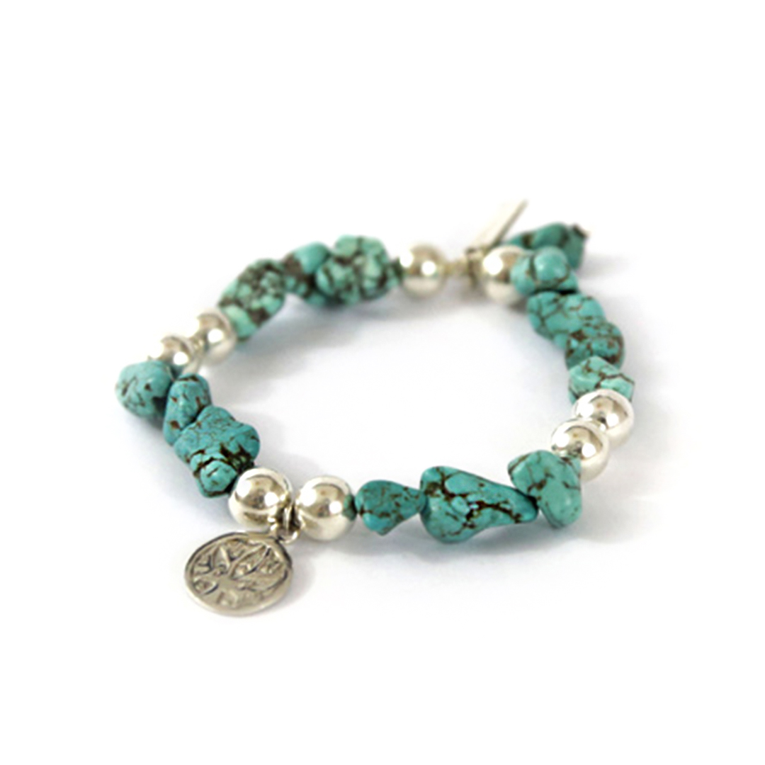 """""""Good Karma""""Bracelet with Natural Turquoise and silver"""