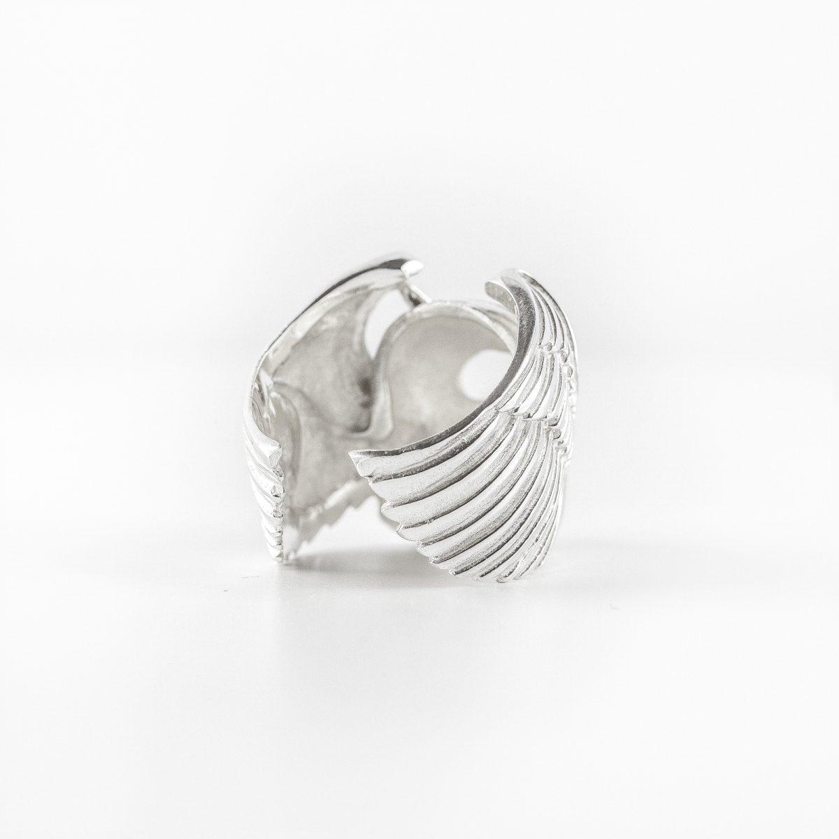 Chevalière homme tête de mort en argent massif (925) Perle de Jade