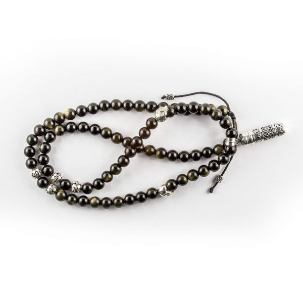 Collier bouddhiste perles d'Obsidienne et secret box argent massif (925) Perle de Jade