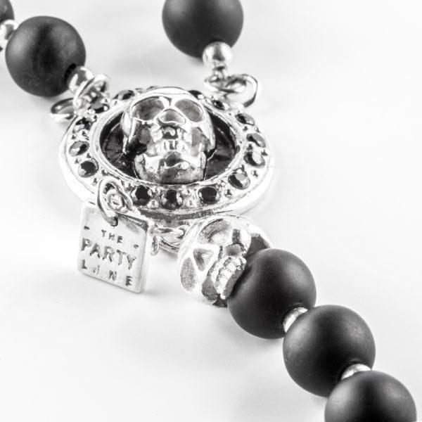 Collier bouddhiste skull perles d'Onyx et secret box argent massif (925) Perle de Jade