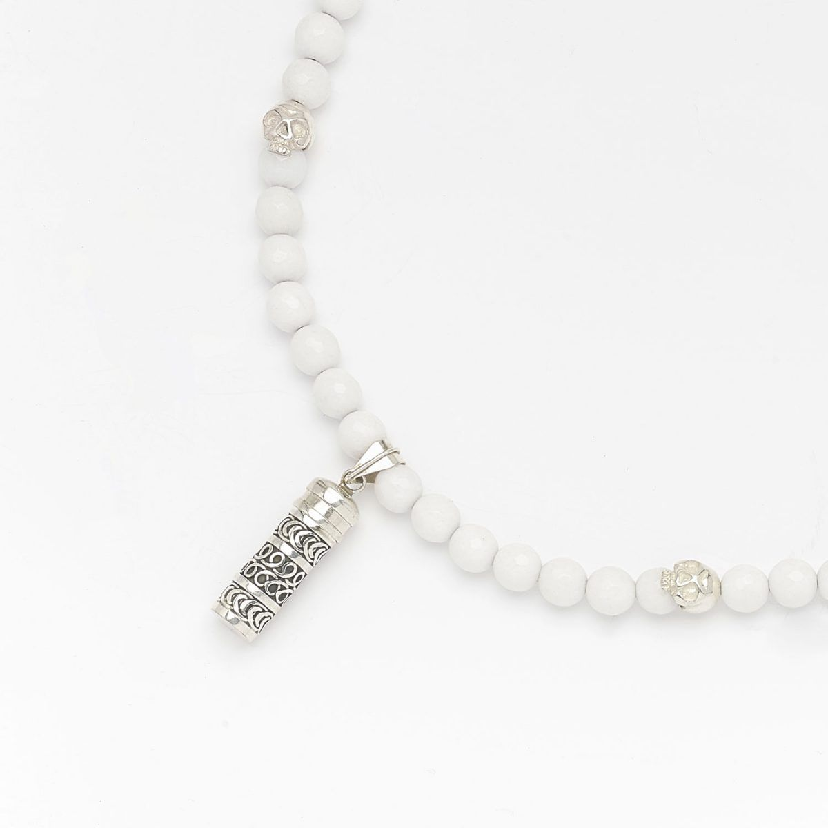 Collier bouddhiste perles de quartz blanc en argent massif (925) Perle de Jade