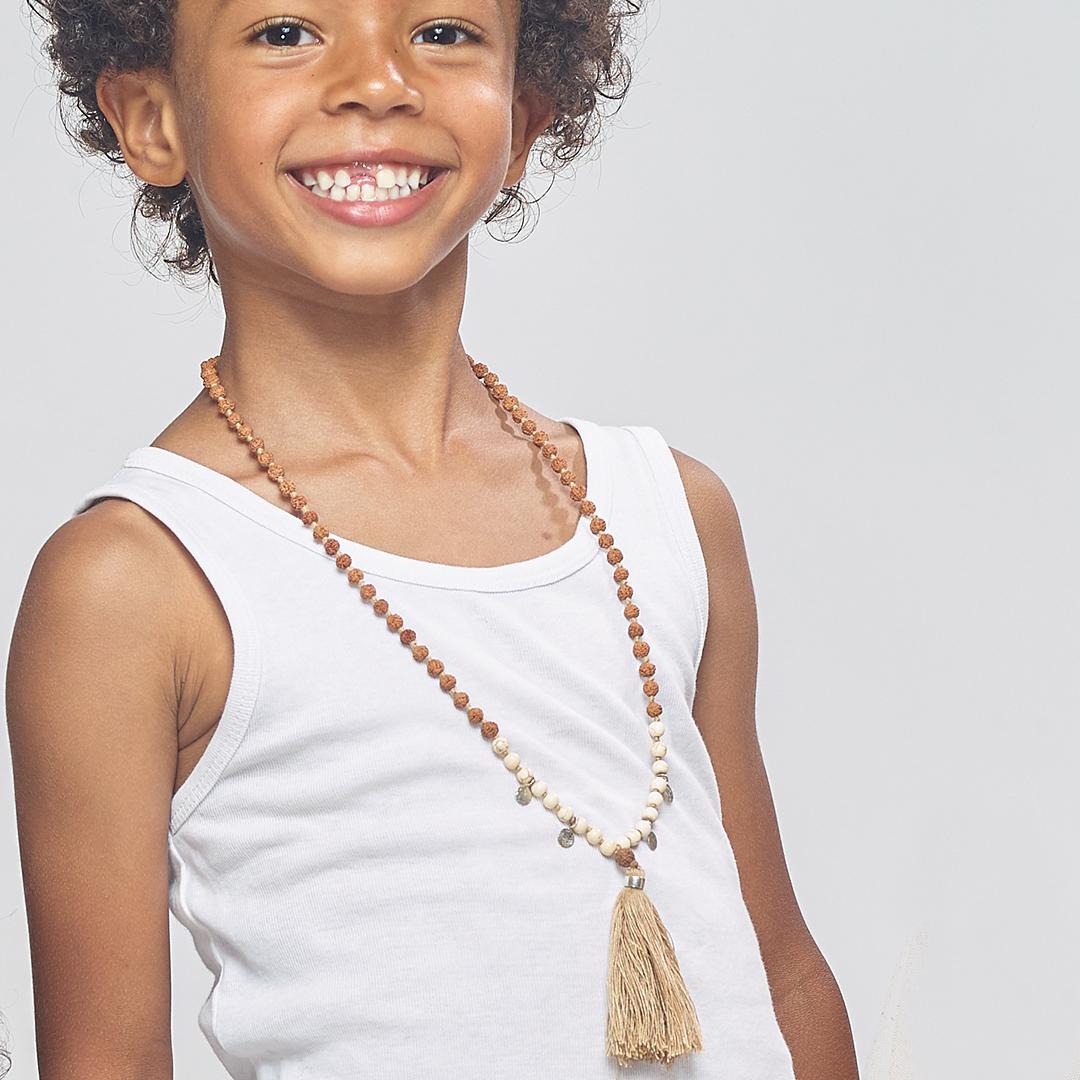 Perle de Jade collier mâlâ perles beiges pour enfant