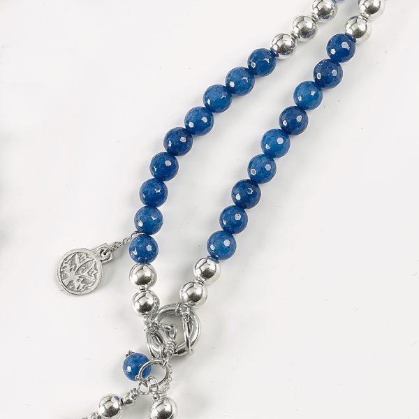 Perle de Jade collier en perles de quartz bleu et argent massif