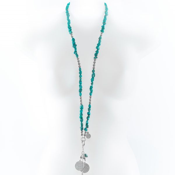 Collier Perle de Jade en pierre de turquoise naturelle dark et argent massif