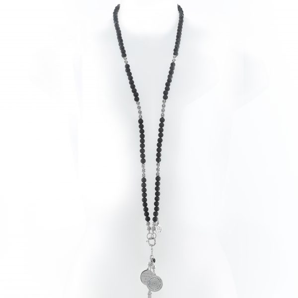 Perle de Jade collier en pierre de lave noire
