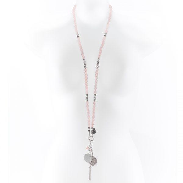 Perle de Jade collier en pierre de quartz rose
