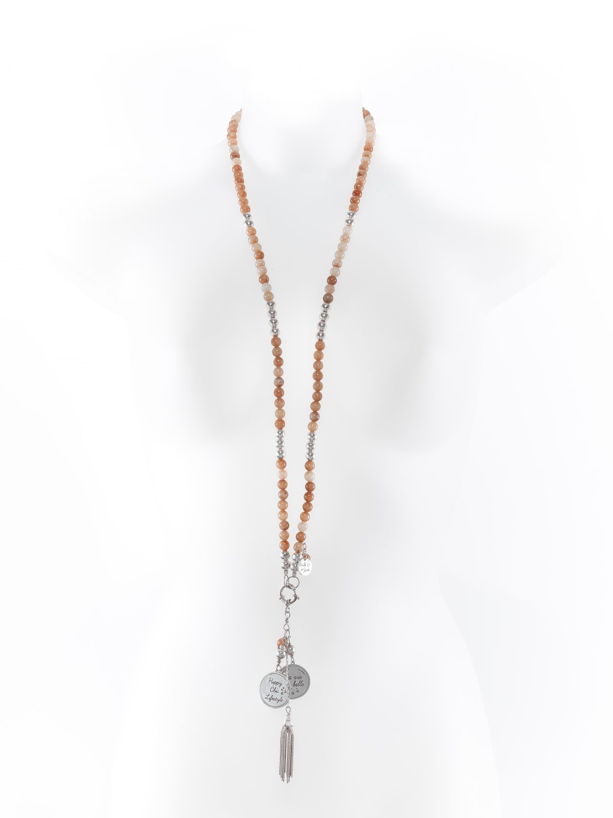 Sunstone and solid silver necklace