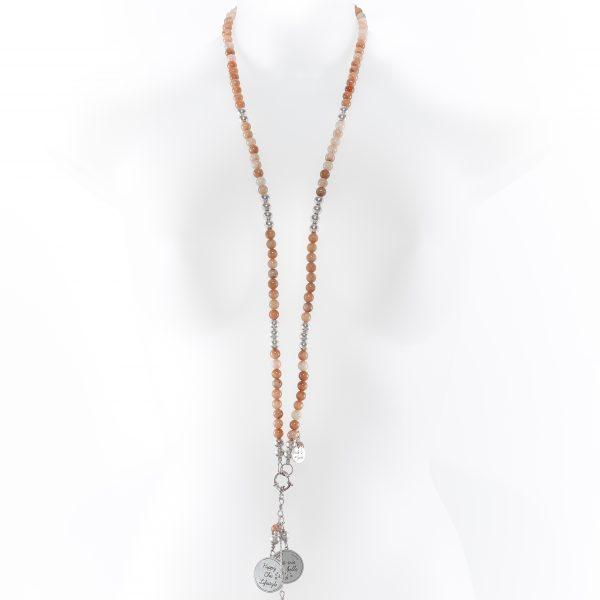 Perle de Jade collier en pierres de soleil et argent