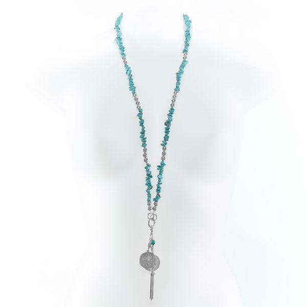 Collier Perle de Jade en pierre de turquoise naturelle light et argent massif