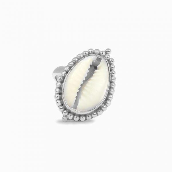 Perle de Jade bague coquillage en argent massif (925)