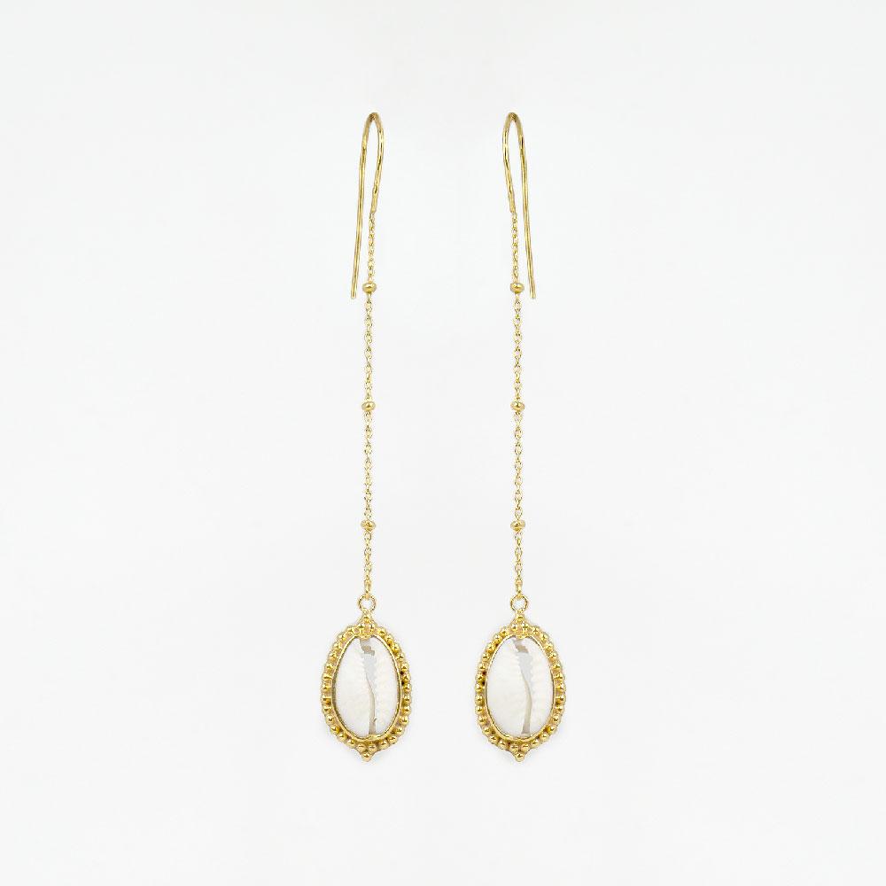 boucles d'oreilles coquillage plaqué or 18 carats perle de jade