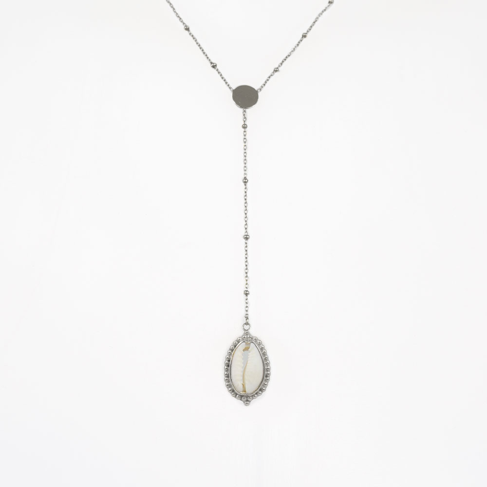 Collier coquillage argent Perle de Jade