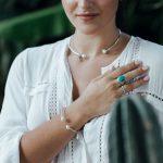 Jonc argent massif (925) et perles nacrées Perle de Jade