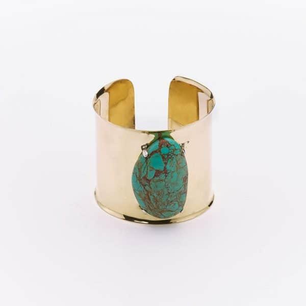 Manchette bronze et pierre de turquoise Perle de jade