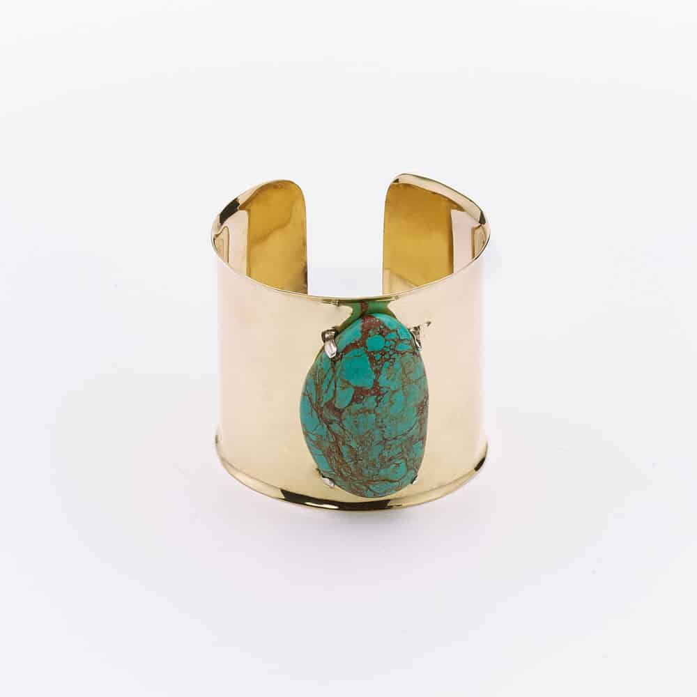 Bronze cuff bracelet with raw turquoise