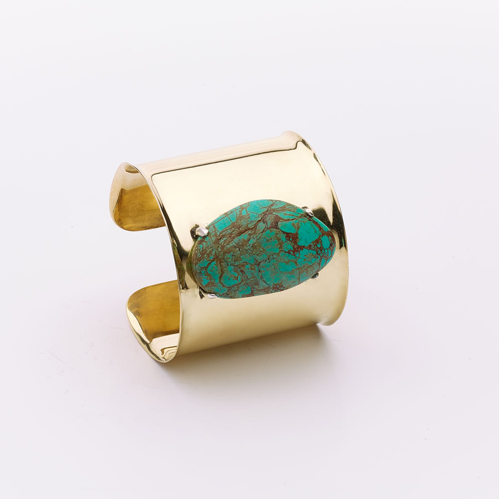 Bracelet manchette bronze et pierre de turquoise Perle de Jade