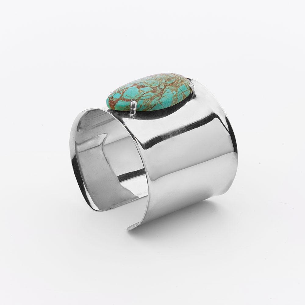 Bracelet manchette en argent massif et pierre de Turquoise