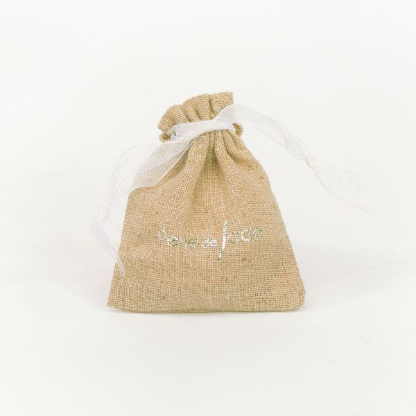 Perle de Jade sac packaging pour bijoux lin naturel