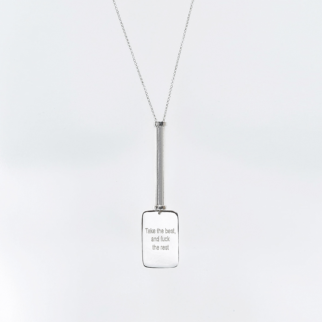 """""""Take the Best"""" military tube necklace in silver"""