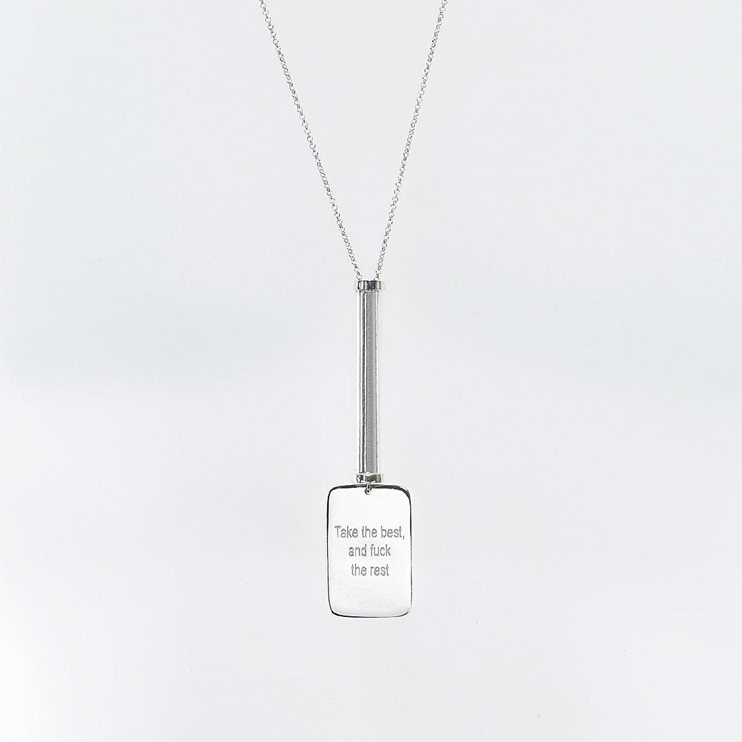 """Collier avec pendentif """"Take the Best"""" Military en argent masqsif (925) Perle de Jade"""