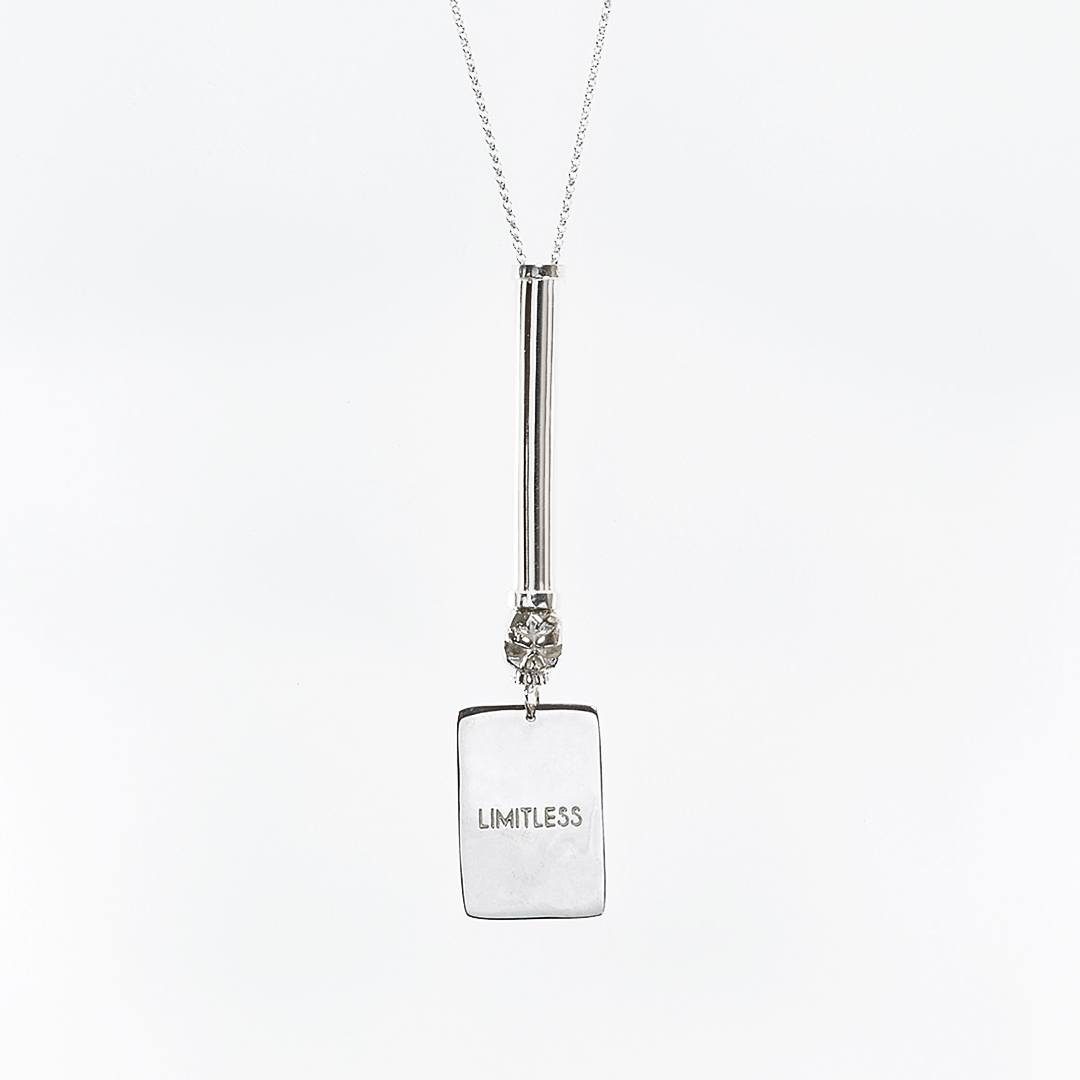 «Limitless » military-style tube necklace in solid silver with skull