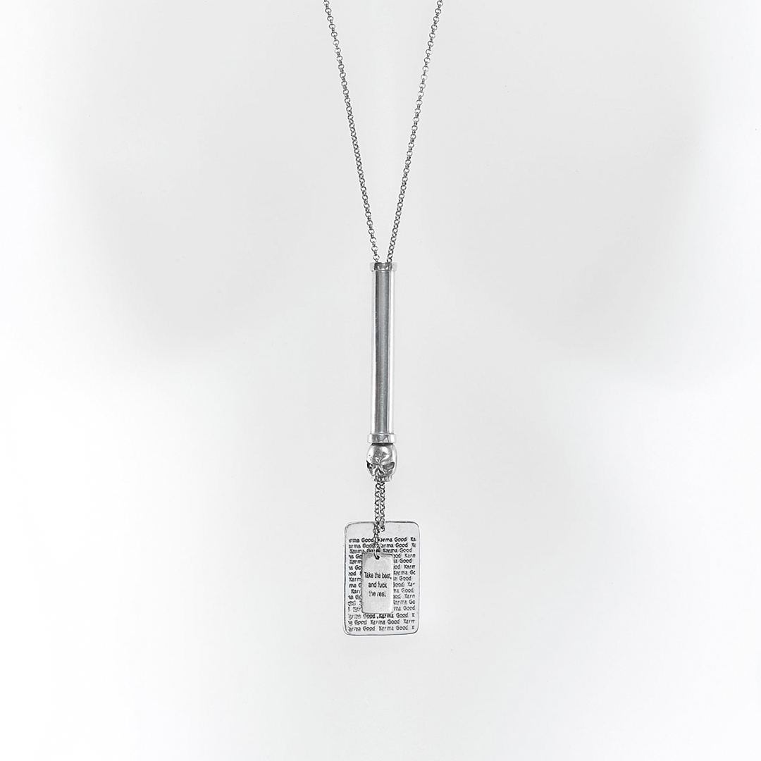 """Silver """"Good Karma"""" Take the Best… tube necklace with skull"""