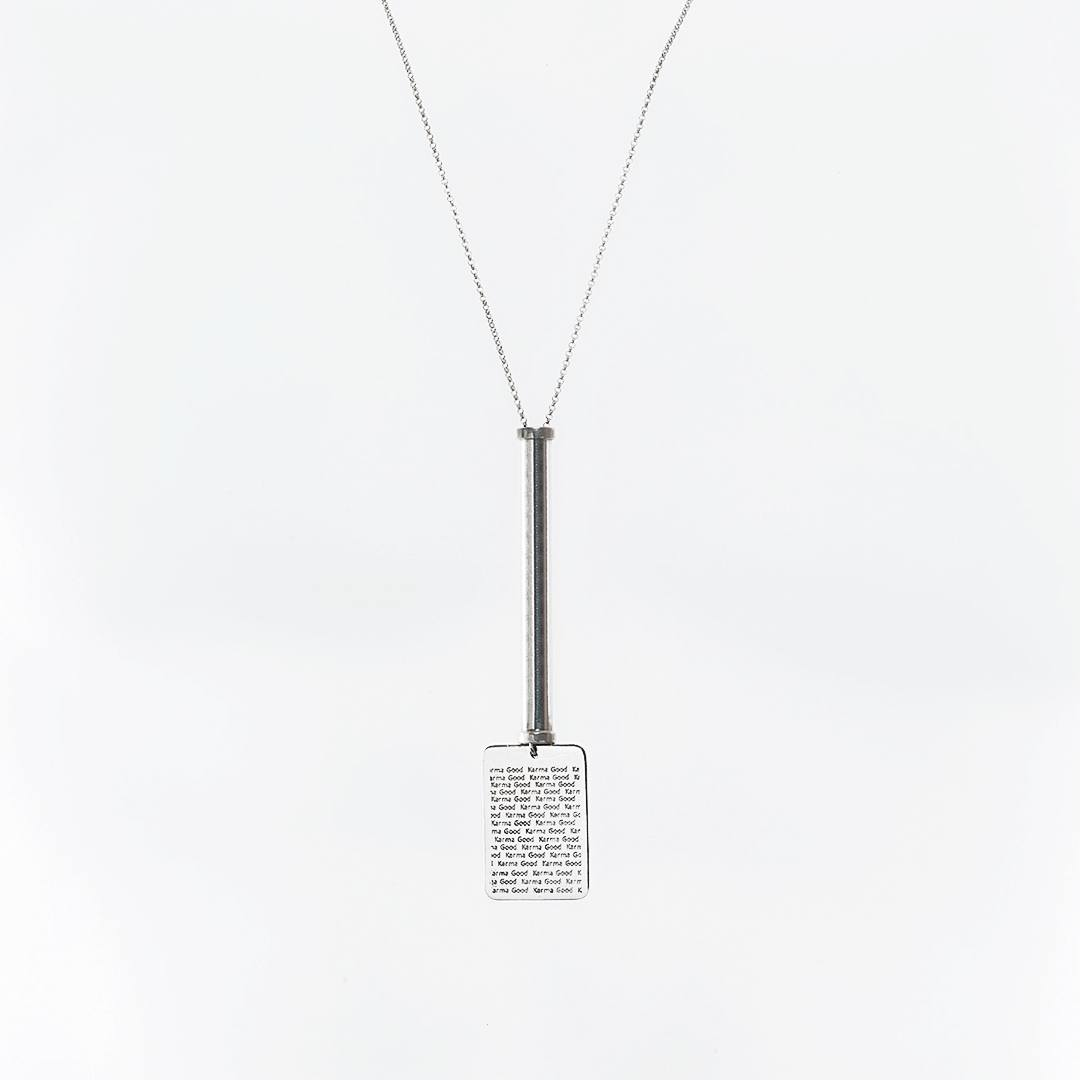 "Silver ""Good Karma"" Military, tube necklace"