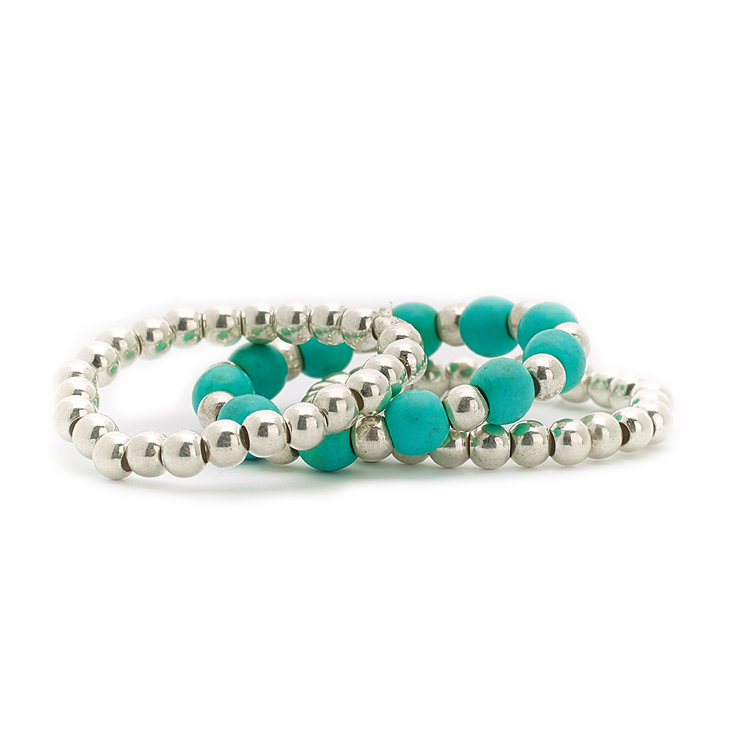 bagues trio élastiques pierres de turquoise perle de jade